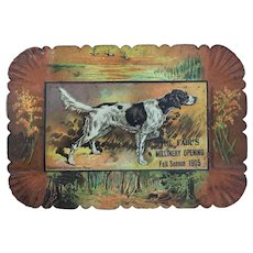 Antique calling card tray lithographed tin with image of dog