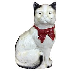 Antique Hubley cast iron painted cat bank