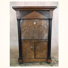 French Maitrise Walnut Secretaire with Ebony Columns