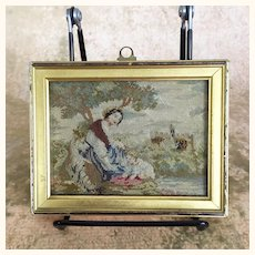 Early vintage beautiful framed petitpoint embroidery