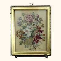 Vintage beautiful small petitpoint floral embroidery in frame, ready to hang