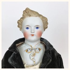 German Parian Dresden Gent, a Dashing Gentleman with Sculpted Cafe au lait hair
