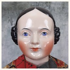 Large Pink-Tinted China Lady with Finely Sculpted face and Gorgeous Clothing