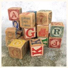 Mixed lot of old wooden alphabet blocks