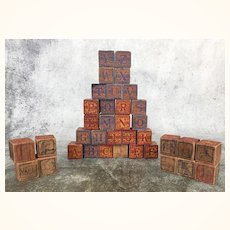Set of 36 antique alphabet stacking blocks