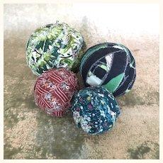Vintage folk art rag balls, set of four