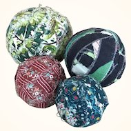 Vintage folk art rag balls, set of four