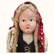 Vintage folk doll, cloth and composition doll, 12 inches of sweetness