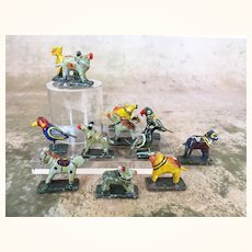Group of vintage tiny colorful papier mache animals