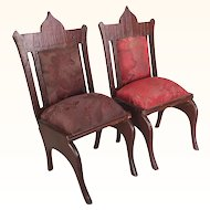 German dark oak doll chairs with silk brocade seats, large scale dollhouse chairs