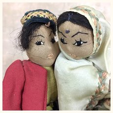 Vintage artist made International folk art dolls, ethnic dancing couple depicting India