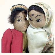 Vintage artist made International folk art dolls, dancing couple depicting India