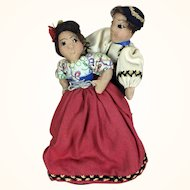 Vintage artist made folk art International dolls, dancing couple depicting Slovakia