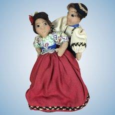 Vintage artist made folk art International dolls, dancing couple depicting Slovakia