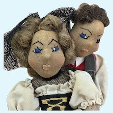 Vintage artist made folk art International dolls, Switzerlanders