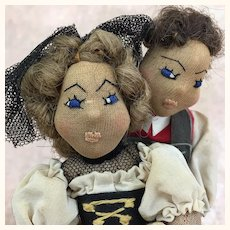 Vintage artist made folk art International dolls, dancers depicting Swiss Couple