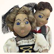 Vintage artist made folk art dancing couple depicting Switzerlanders