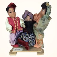 Vintage artist made cloth folk art ethnic dolls depicting Turkey