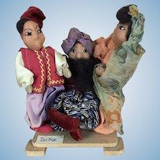 Vintage artist made cloth folk art dolls depicting Turkey