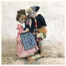 Vintage artist ethnic dolls depicting Scottish dancing couple