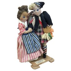 Vintage artist ethnic dolls depicting Scottish dancing couple