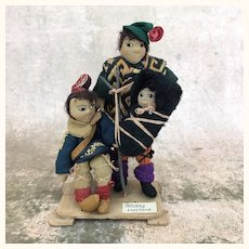 Vintage artist ethnic dolls depicting Norwegian Lapland family