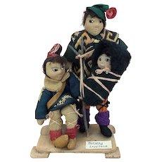 Vintage artist ethnic dolls depicting Norwegian Lapland family
