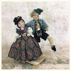 Vintage artist made folk art International dolls,  dancing couple depicting Bavaria