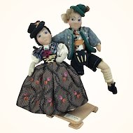 Vintage artist made folk art International dolls,  dancing couple depicting Bavaria