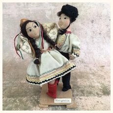 Vintage artist made folk art dancing couple depicting Hungarian people