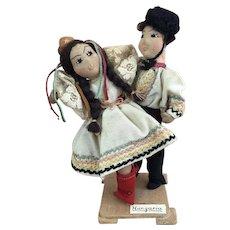 Vintage artist made folk art dancing couple depicting Hungarian people