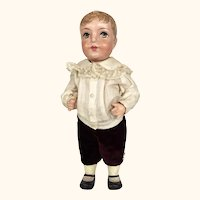 Vintage Papier Mache boy doll with delicious hair