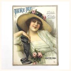 "Antique Sheet Music ""Take Me"", published 1920"
