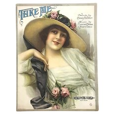 "Antique Sheet Music ""Take Me"", published 1920"