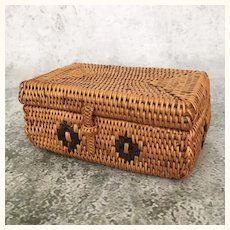 Early vintage miniature doll's trunk basket