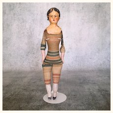 Antique early composition over wood doll with unique body