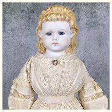 Unusual mystery doll blonde bisque girl with glass eyes