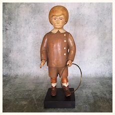 Antique wooden boy store display figure