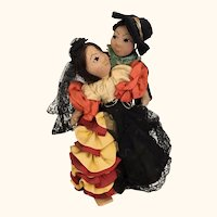 Vintage artist made folk art International dolls, Spanish Flamenco dancers