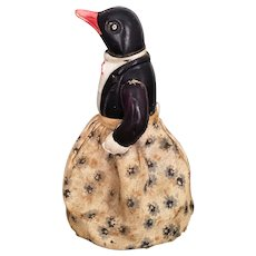 Vintage rare and unusual celluloid and cloth wind up penguin toy