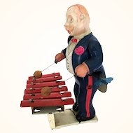 Vintage Occupied Japan celluloid fabulous wind up toy man playing xylophone