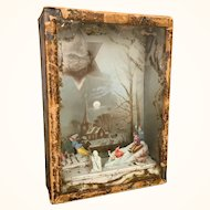 Very old diorama hanging wall box of winter scene