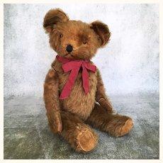 American 21 inch cinnamon mohair teddy bear, circa 1920's-30's