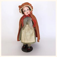 German bisque head Red Riding Hood doll, 11 inches