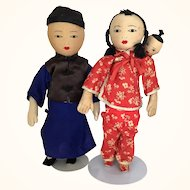 Pair of Vintage dolls from Taiwan with cute baby