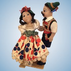 Vintage 1940's cloth Folk Art  International dolls, Italian dancing couple