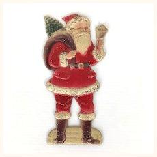 Very old cardboard and glitter Santa ornament