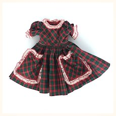 Vintage red plaid dress for composition doll