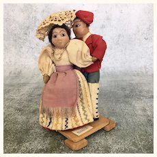 Vintage artist made International dancing folk art dolls