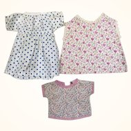 Vintage doll clothing in sweet patterns: Two Dresses and a Top
